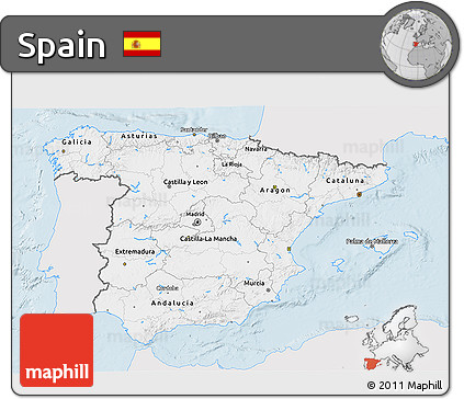 Silver Style 3D Map of Spain, single color outside