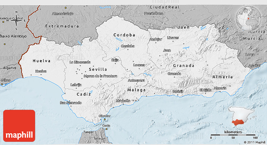 Google Map Of Southern Spain.Gray 3d Map Of Andalucia