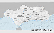 Gray 3D Map of Andalucia, single color outside