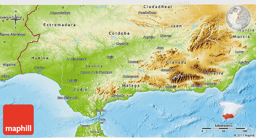 Map Of Spain Andalucia.Physical 3d Map Of Andalucia