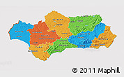 Political 3D Map of Andalucia, cropped outside