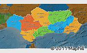 Political 3D Map of Andalucia, darken