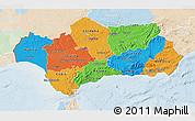 Political 3D Map of Andalucia, lighten
