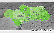 Political Shades 3D Map of Andalucia, darken, desaturated
