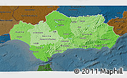 Political Shades 3D Map of Andalucia, darken