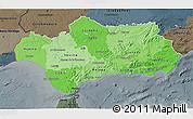 Political Shades 3D Map of Andalucia, darken, semi-desaturated