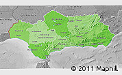 Political Shades 3D Map of Andalucia, desaturated