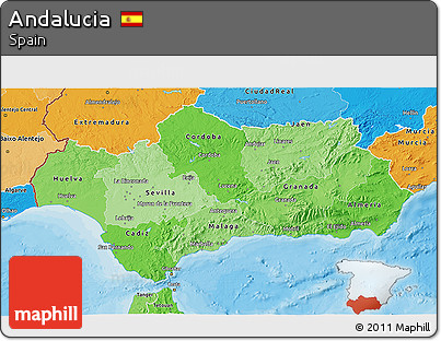 Political Shades 3D Map of Andalucia