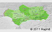 Political Shades 3D Map of Andalucia, lighten, desaturated