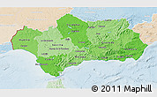 Political Shades 3D Map of Andalucia, lighten