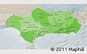 Political Shades 3D Map of Andalucia, lighten, semi-desaturated