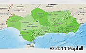 Political Shades 3D Map of Andalucia, shaded relief outside