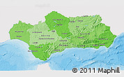 Political Shades 3D Map of Andalucia, single color outside
