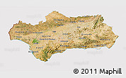Satellite 3D Map of Andalucia, cropped outside