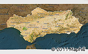 Satellite 3D Map of Andalucia, darken
