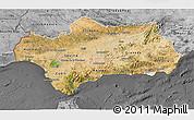 Satellite 3D Map of Andalucia, desaturated