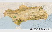 Satellite 3D Map of Andalucia, lighten