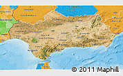 Satellite 3D Map of Andalucia, political outside