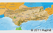 Satellite 3D Map of Andalucia, political shades outside