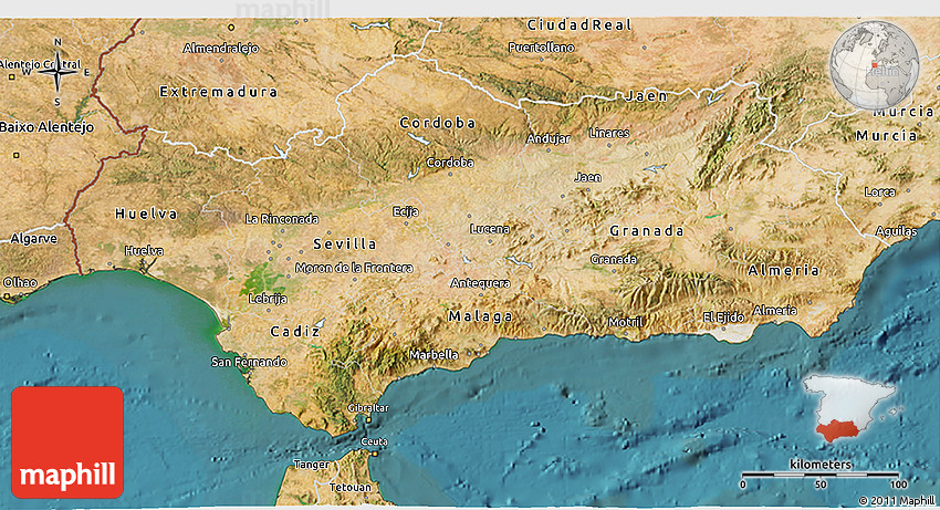 Satellite 3D Map of Andalucia