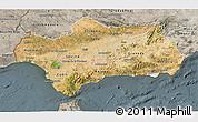 Satellite 3D Map of Andalucia, semi-desaturated