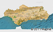 Satellite 3D Map of Andalucia, single color outside