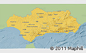 Savanna Style 3D Map of Andalucia, single color outside