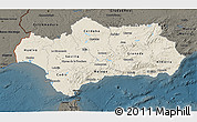 Shaded Relief 3D Map of Andalucia, darken