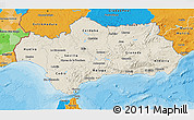 Shaded Relief 3D Map of Andalucia, political outside