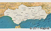 Shaded Relief 3D Map of Andalucia, satellite outside