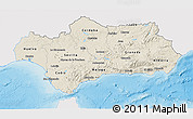 Shaded Relief 3D Map of Andalucia, single color outside
