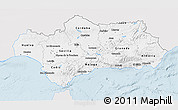 Silver Style 3D Map of Andalucia, single color outside