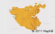 Political 3D Map of Cádiz, cropped outside
