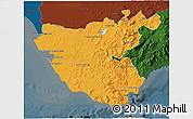 Political 3D Map of Cádiz, darken