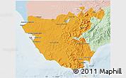 Political 3D Map of Cádiz, lighten