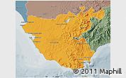 Political 3D Map of Cádiz, semi-desaturated