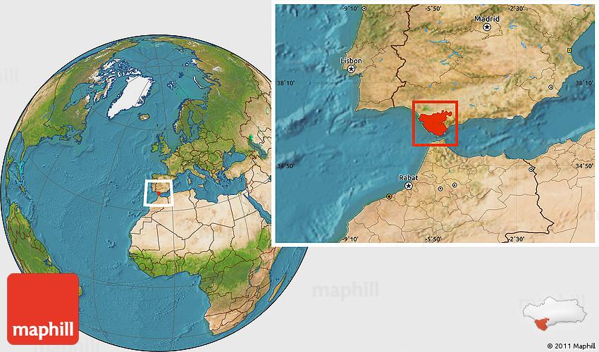Map Of Spain Cadiz.Satellite Location Map Of Cadiz
