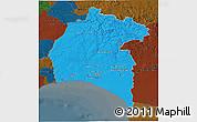 Political 3D Map of Huelva, darken