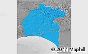 Political 3D Map of Huelva, desaturated
