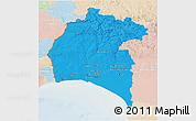 Political 3D Map of Huelva, lighten
