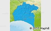 Political 3D Map of Huelva, physical outside