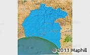 Political 3D Map of Huelva, satellite outside