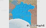 Political 3D Map of Huelva, semi-desaturated