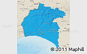 Political 3D Map of Huelva, shaded relief outside