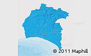 Political 3D Map of Huelva, single color outside