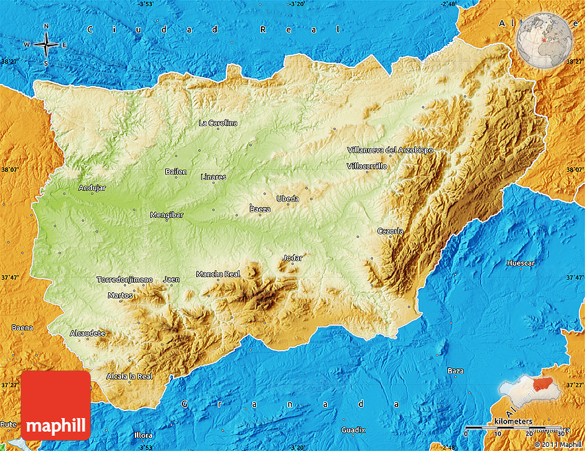 Physical Map Of Jaen Political Outside