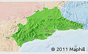 Political 3D Map of Málaga, lighten