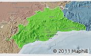 Political 3D Map of Málaga, semi-desaturated