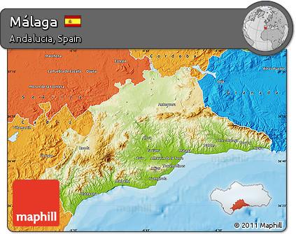Free Physical Map of Málaga, political outside on