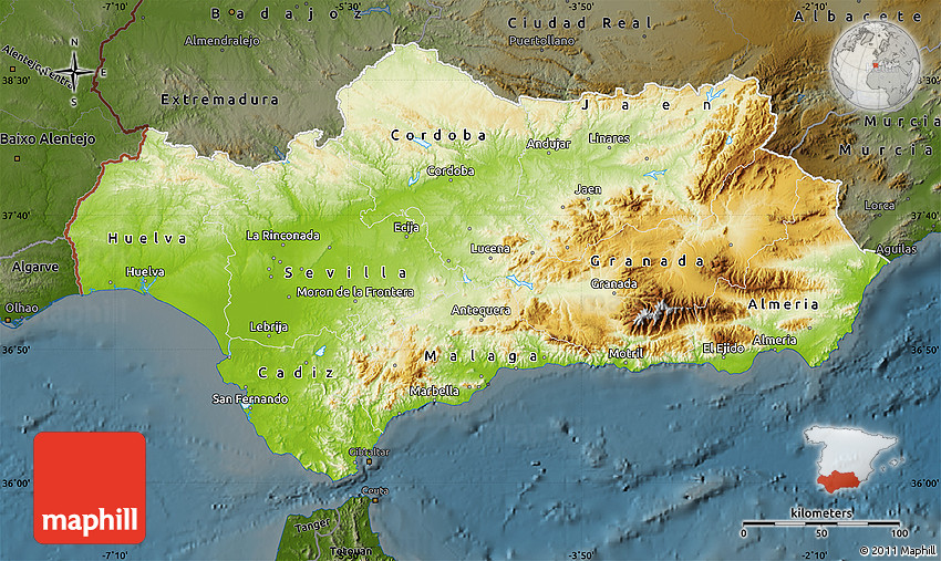 Physical Map of Andalucia darken